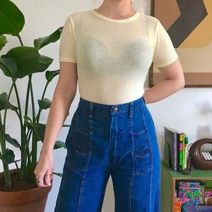 Vintage 70s sheer striped T-shirt pastel yellow S